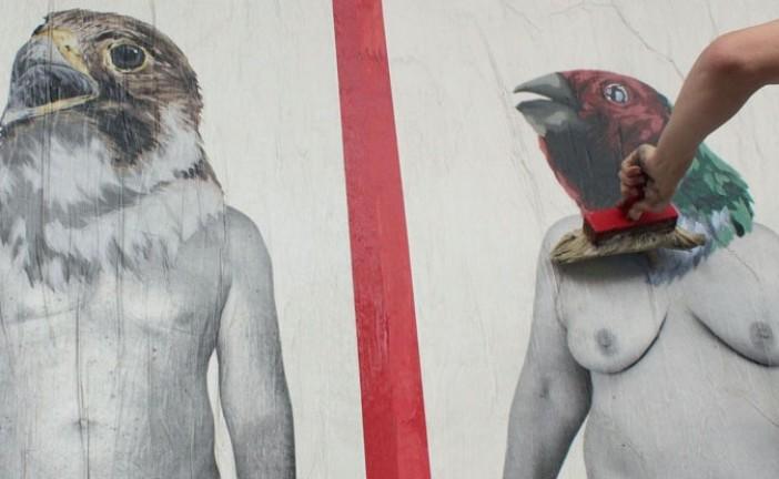 Cheap, street poster art festival: Vinz Feel Free, work in progress