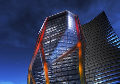 : EMERGENT/ Tom Wiscombe, LLC, render della torre Huaxi in notturna, 2008. Courtesy EMERGENT