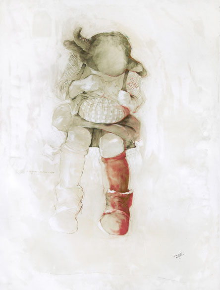 Untitled No.14, The Perfect Stage 2012; 50 x 38 inch; pencil, gesso, oil pastels, oil and wax on paper