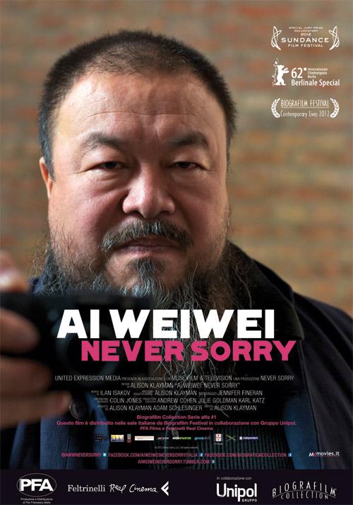 La locandina del documentario Ai Weiwei: Never Sorry