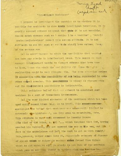 """Bozza dell'articolo """"Computring Machinery and Intelligence"""" con correzioni a mano dello stesso Turing, 1950, pag 1 © P.N. Furbank"""