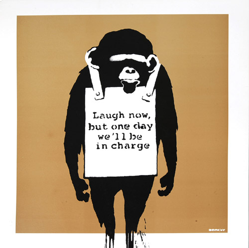 Banksy, DJ Dangermouse – Laugh now.  Serigrafia su custodia di disco in vinile, 31,5x31,5 cm, 2008.  Collezione privata.