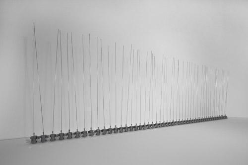 Zimoun - 50 prepared dc motors, filler wire 1.omm, 2012 Installation view: studio Zimoun, Bern, Switzerland Photo by Zimoun