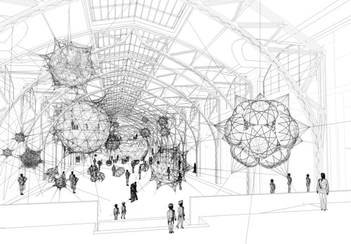 Tomas Saraceno, Cloud cities, 2011 Schizzo