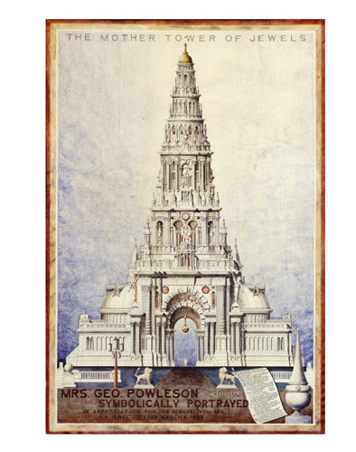 A. G. Rizzoli, Mrs. Geo. Powleson Symbolically Portrayed / The Mother Tower of Jewels, 1935 Ink on rag paper, 94x64 cm Courtesy of The Ames Gallery, Berkeley, CA, USA