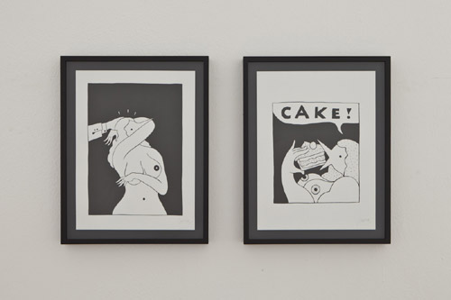 Parra. Weird Naked Dance, 2013; Cake, 2013. Ink on 300gr paper, 30x40 cm. Courtesy Galleria Patricia Armocida, Milano. Foto: Carlo Beccalli