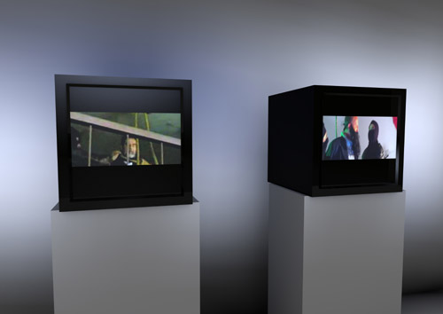 "alessandro sambini Saddam and Saddam, 2013, doppia video installazione, 1'38"", loop."