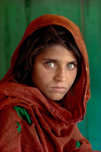 Steve McCurry, Sharbat Gula, Afghan girl, at Nasir Bagh refugee camp near Peshawar, Pakistan, 1984 Copyright Steve McCurry