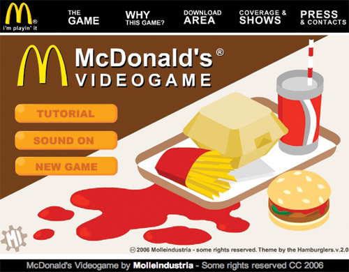 Molleindustria, 2006, Mc Donald's Videogame, screenshot dal sito www.mcvideogame.com