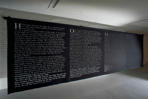 Rosa Barba, The Contemplative or The Speculative, 2013. Cutout text on felt 180 x 480 cm. Ed.: 3, I