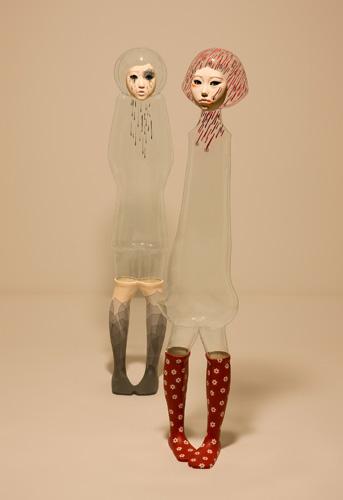 Yu Jinyoung, I'm OK 1, I'm OK 2, 2009. PVC, mixed media, h: 127 cm. Courtesy Galleria Patricia Armocida, Milano