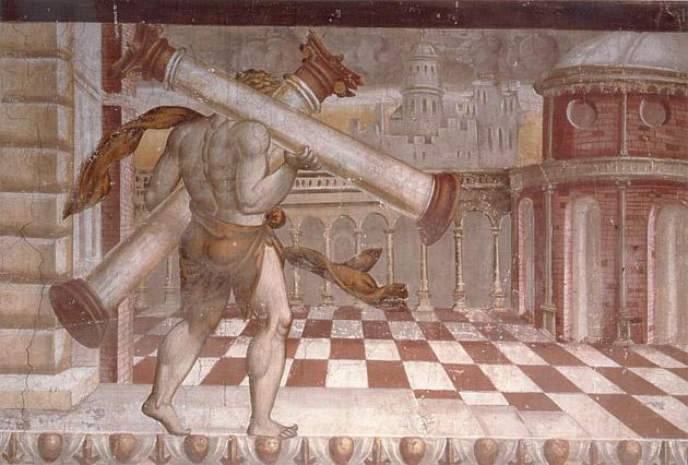 Castello di Melegnano Ercole e le colonne affresco 1520