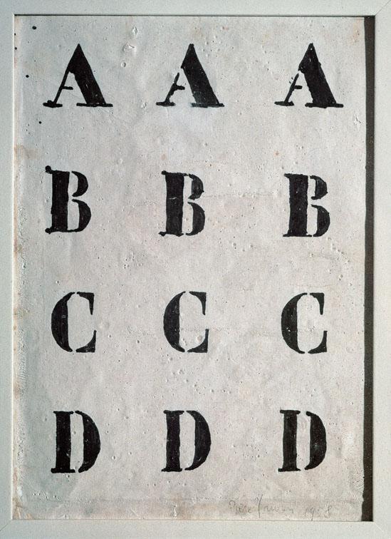 Alfabeto, 1958. Inchiostro e caolino su tela, 25x18 cm. Collezione privata
