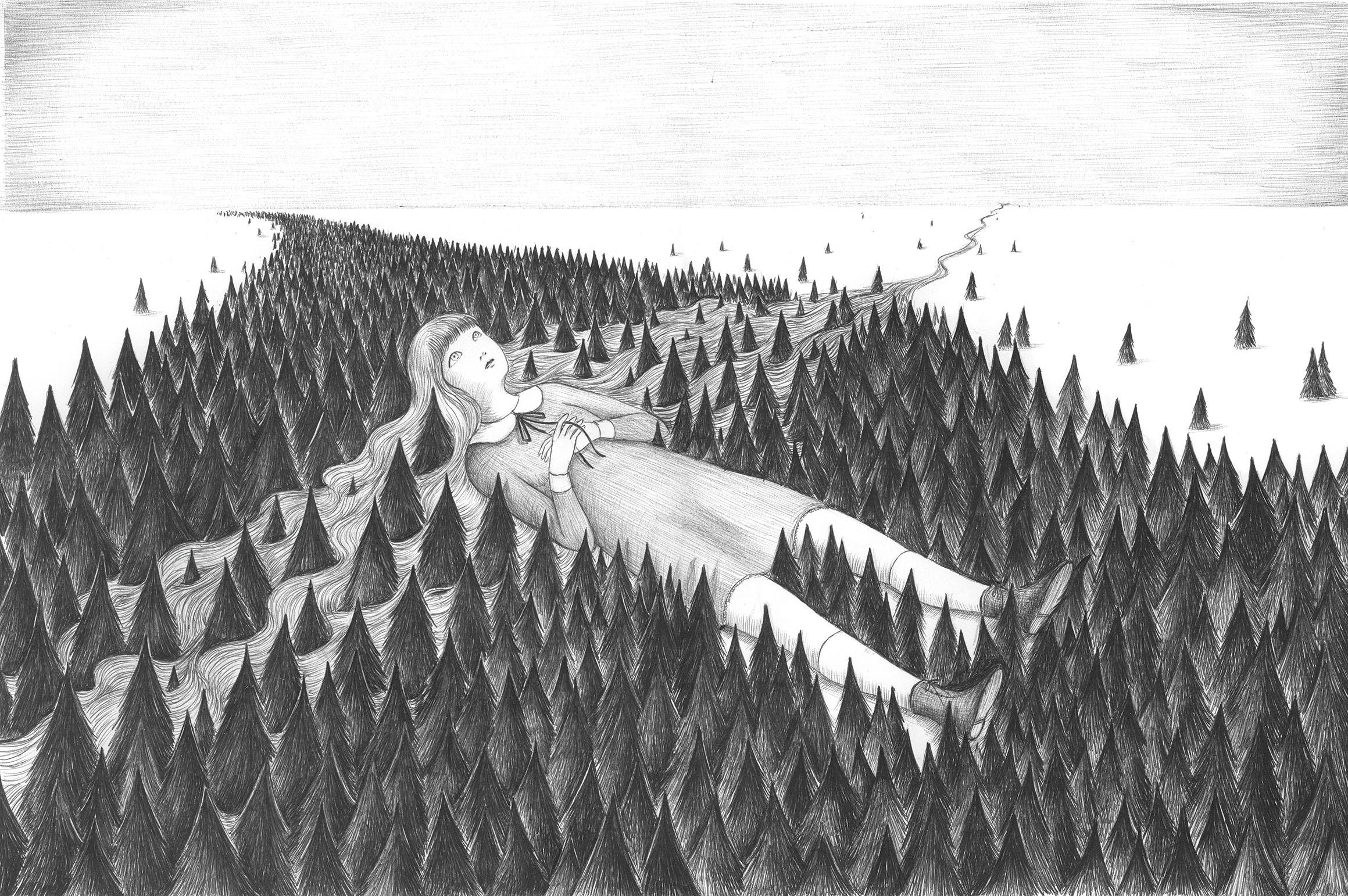 Virginia Mori, Bambina gigante, penna bic su carta