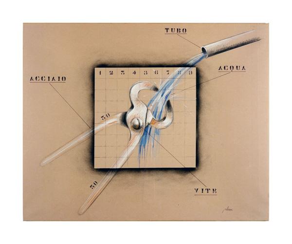 Fabrizio Plessi, Stringi acqua, 1971, 100x81 cm, grafite e nitro su carta intelata