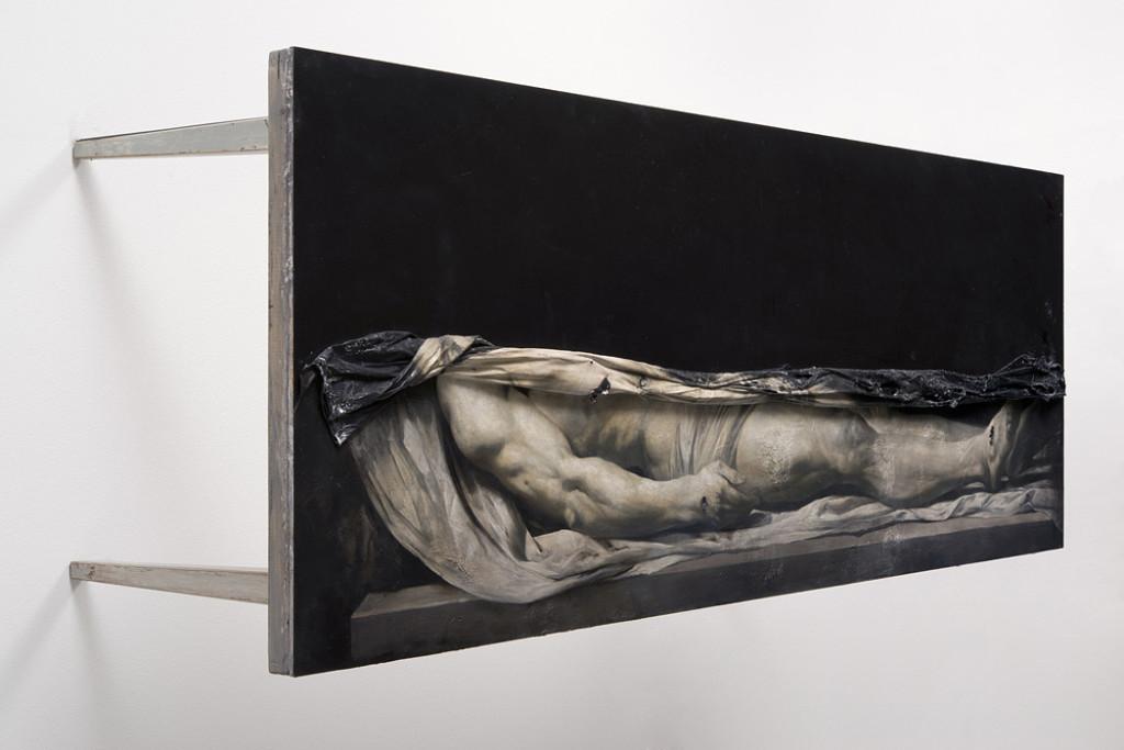 1. Nicola Samorì, Lienzo, 2014, olio su tavola, 70x200x73 cm