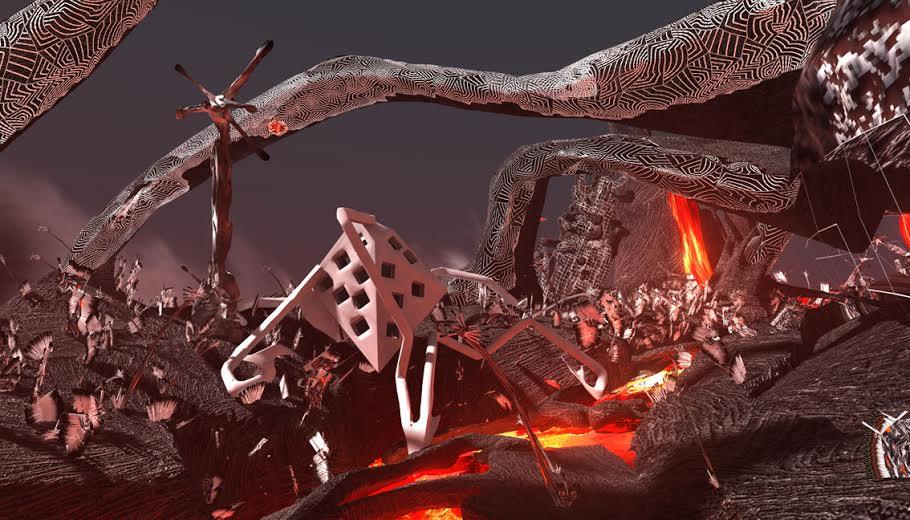 4.Zone fuori controllo (Fire Flows), 2013, installazione con animazione stereoscopica 3D, still da video, Courtesy Gagliardi Art System (Torino)