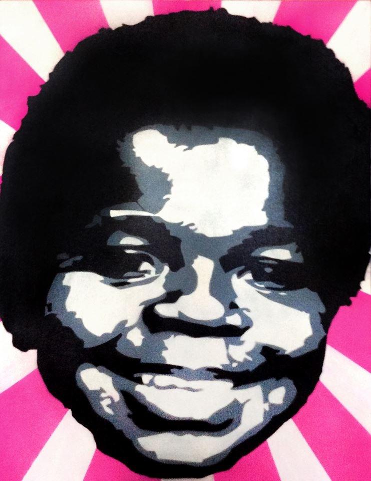 Zibe, Senza titolo. Stencil su tela, cm 80x100