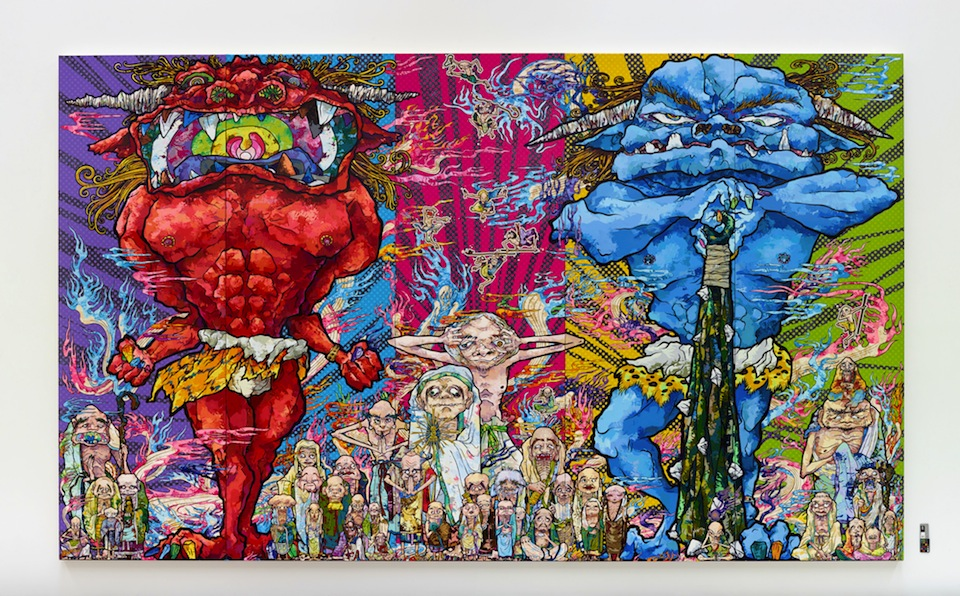 Takashi Murakami, Red Demon and Blue Demon with 48 Arhats, 2013 Acrylic, gold and platinum leaf on canvas mounted on board 3000 x 5000 mm Courtesy Blum & Poe, Los Angeles (c)2013 Takashi Murakami/Kaikai Kiki Co., Ltd. All Rights Reserved.