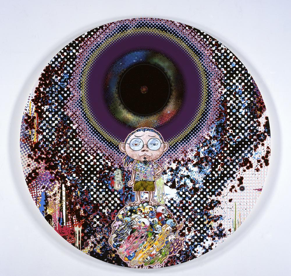 Takashi Murakami, Dark Matter & Me, 2014 Acrylic, gold leaf and platinum leaf on canvas mounted on wood panel 2000 x 50.8 mm Courtesy Blum & Poe, Los Angeles (c)2014 Takashi Murakami/Kaikai Kiki Co., Ltd. All Rights Reserved.