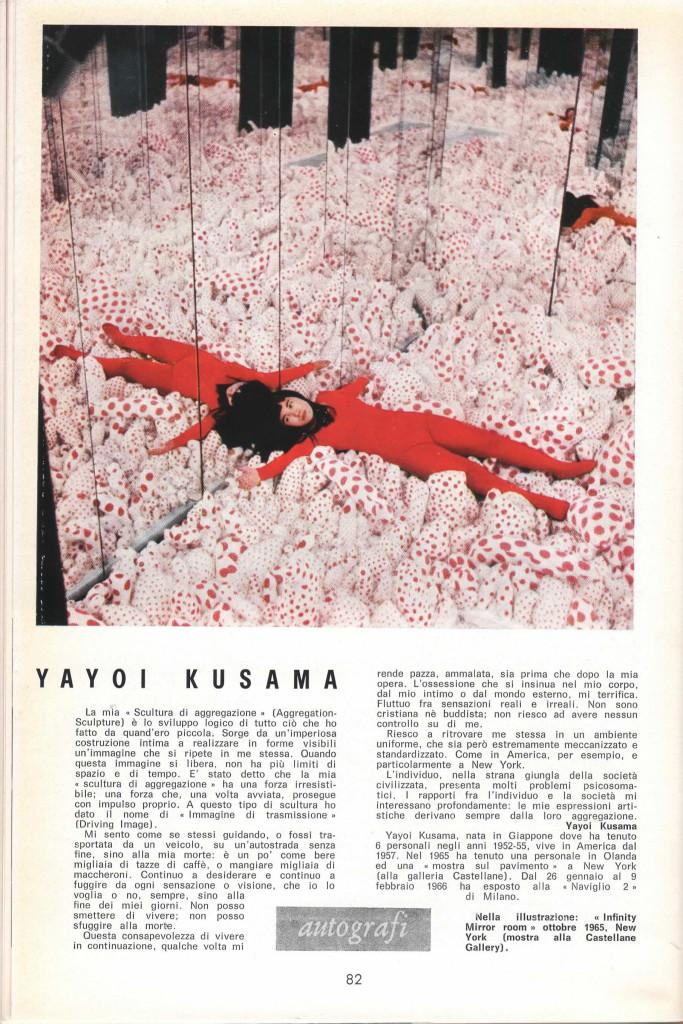 Pagina 82 di D'ARS, testo di Yayoi Kusama.