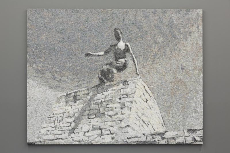 Il salto, 2014, mosaico in marmo, 200x262 cm