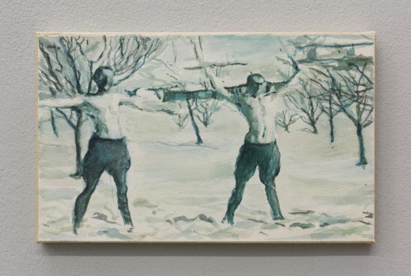 A braccia aperte, 2014, acquerello su carta montato su tela, 20,2x31,8 cm
