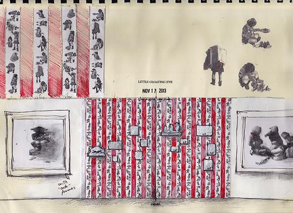 Beatrice Scaccia, Schizzi progetto Little Gloating Eve, 2013, tecnica mista su carta, 20x30 cm