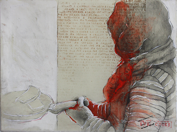 Beatrice Scaccia, Eve cooks, 2014, pencil, gesso and wax on-paper, 28x38 cm