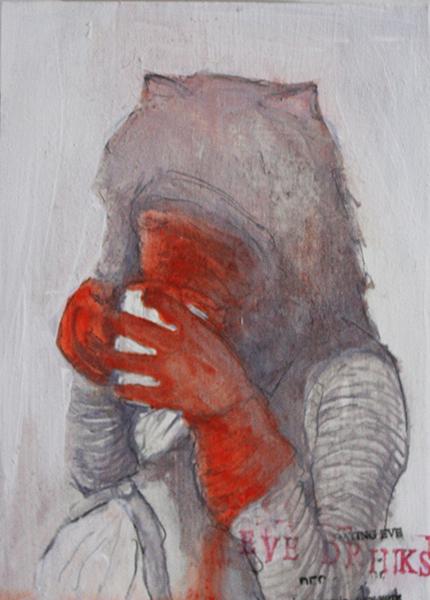 Beatrice Scaccia, Eve drinks, 2014, oil on panel, 18x13 cm