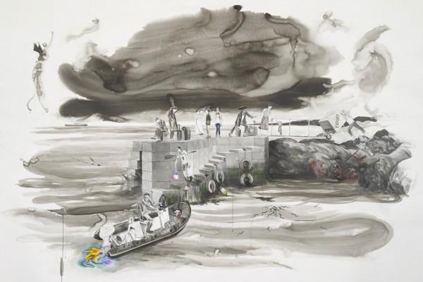 Charles Avery Untitled (View of the Jetty) 2012  Matita inchiostro acrilico su carta in cornice dartista 232 x 312 x 10 cm  Collezione Matteo Ghis