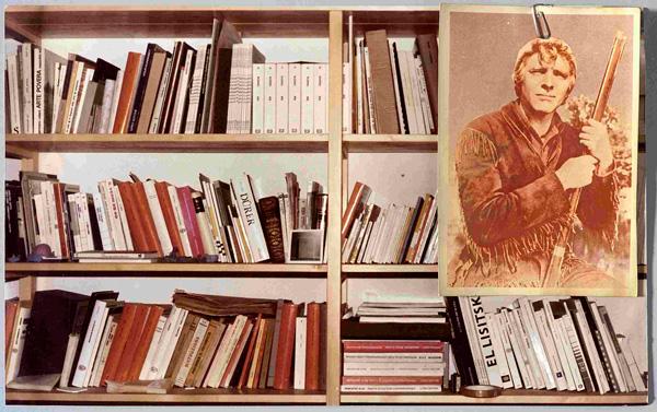 Franco Guerzoni, Avventura a guardia della libreria, 1978 Cartolina e foto originale cm 23x37 Collaborazione fotografica con Luigi Ghirri