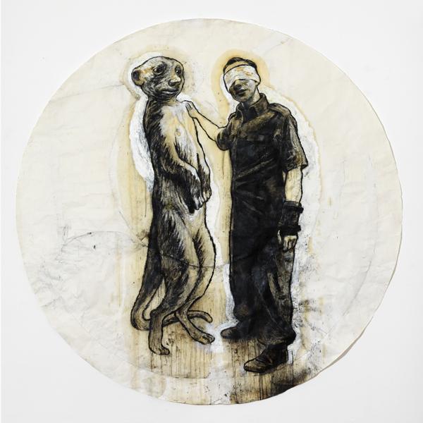 """Stefano Ricci, Autiritratto con lemure, dalla mostra """"Dice la volpe al corvo"""", 2013"""