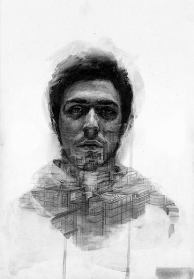 Thomas Cian, The city, 2014, grafite su carta, 25.5x36.5 cm