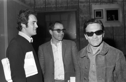 "Bernardo Bertolucci, Pier Paolo Pasolini and Jean-Luc Godard during a meeting for the film ""Amore e Rabbia"", 1969 © Reporters Associati - Roma"