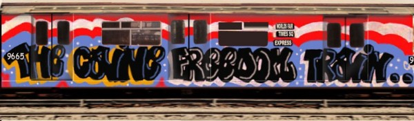 Caine, parte del celebre Freedom Train, primo whole train (pezzo che copre tutto il treno) dipinto insieme a Mad 103 e Flame one il 4 Luglio 1976