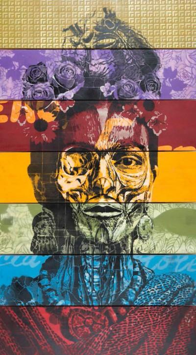 Orticanoodles, La Rosa Nera - Frida Kahlo, 2014, stencil, bomboletta spray su legno, cm 142x80