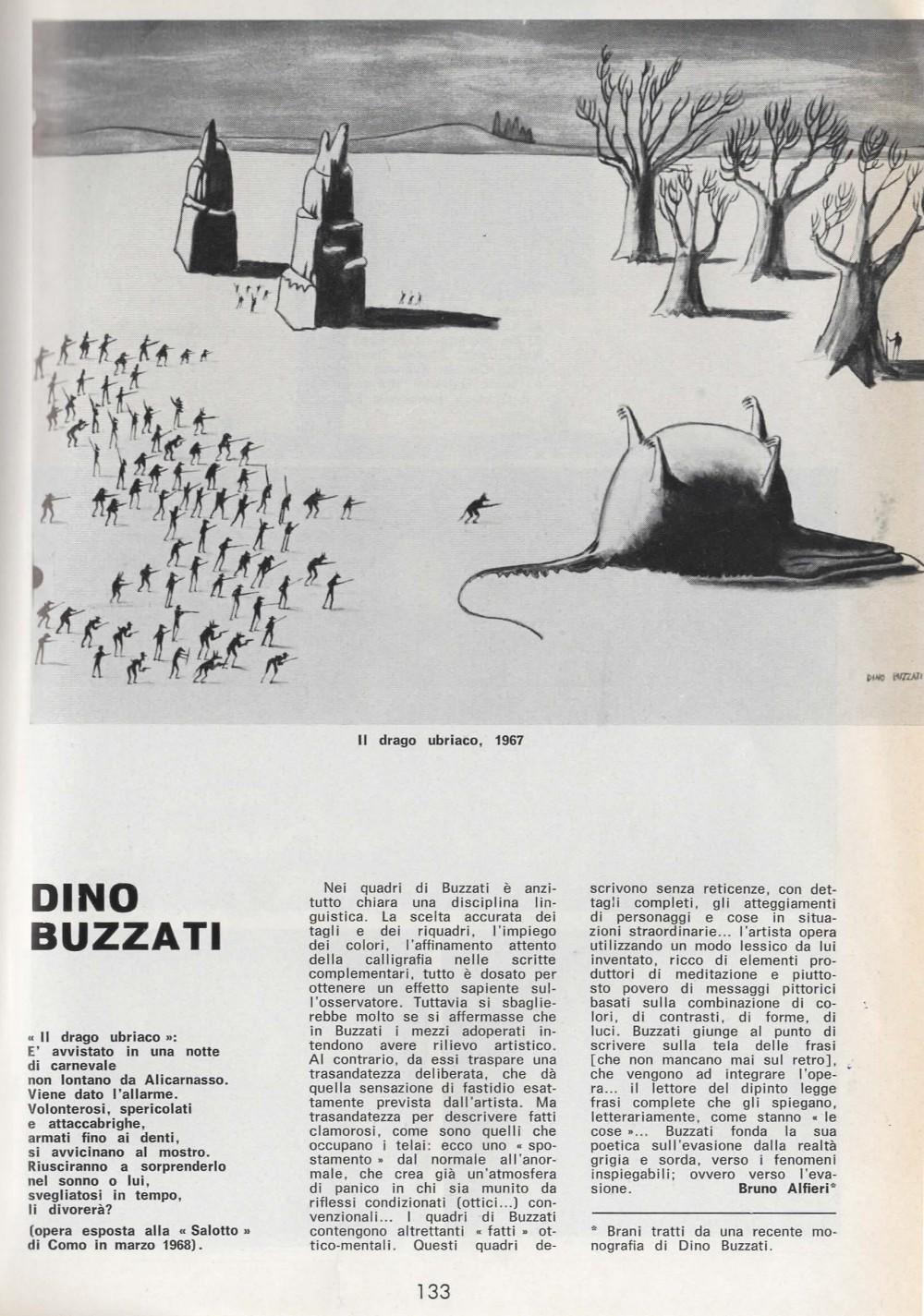 """D'ARS n. 40 anno IX . febbraio/giugno 1968, pag. 133. Immagine: Il Drago Ubriaco, 1967 – opera esposta alla Galleria """"Salotto"""" di Como, 1968"""