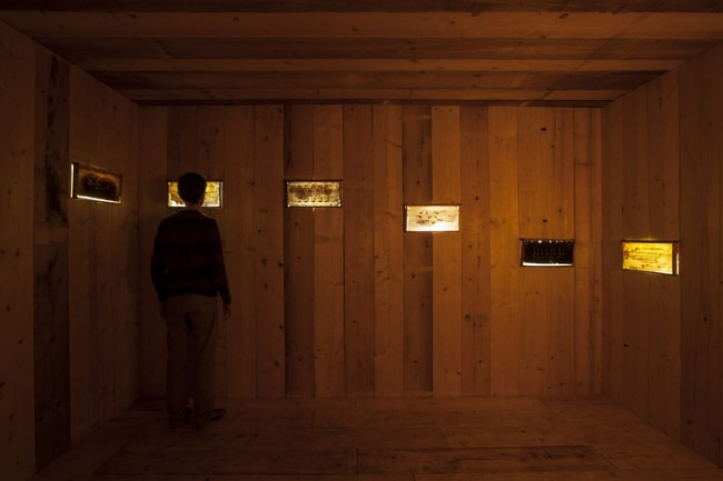 432HZ, 2009-2014, installation, wood, beeswax, honey, electrical system, sound, 330x475x575 cm. Courtesy Micol Assaël, Museo Madre and Fondazione Hangarbicocca