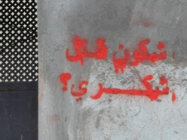"""Da I muri di Tunisi. Segni di rivolta. """"Chi ha ucciso Chokri?"""" Chokri Belaid, avvocato dei diritti umani e tra i leader del Fronte Popolare (coalizione di partiti di sinistra radicale) è stato assassinato davanti casa a Tunisi il 6 febbraio 2013"""