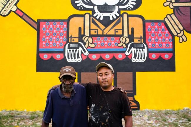 Neuzz e un abitante locale, Living Walls 2012, Atlanta, photo by Dustin Chambers