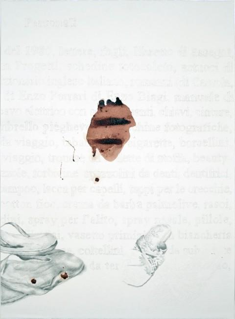 Giovanni Gaggia, Inventarium, Sanguinis suavitas, 2010,sangue, grafite e gouache su carta