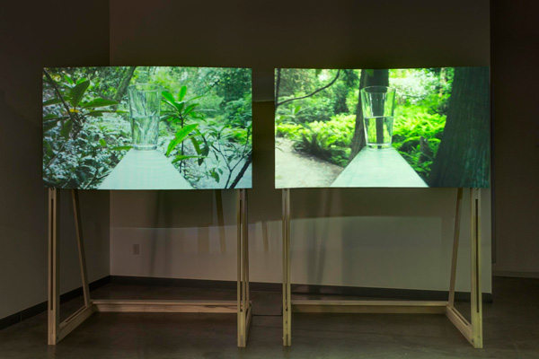 GARY HILL Sine Wave, 2011 Mixed Media installation Projected images: 91x163 cm each, Overall screens: 213x163x103 cm each