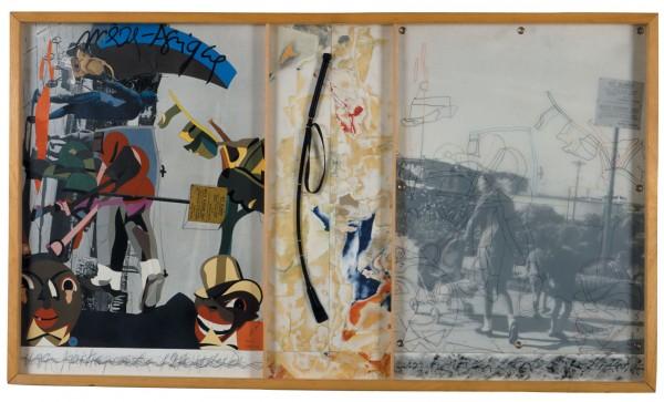 Mère-Afrique, 1982, Mine graphite, papiers de coupes et colles sur papier, tirage photographie, oeillets metalliques, calque et cuir,83x148 cm. Collection Frac Aquitaine. Photo: Frederic Delpech, Adagp, Paris 2015