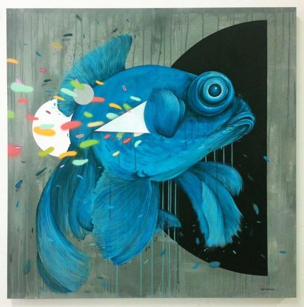 reFRESHink, Pesce turchese. acrilico su tela, cm 100x100,  2015