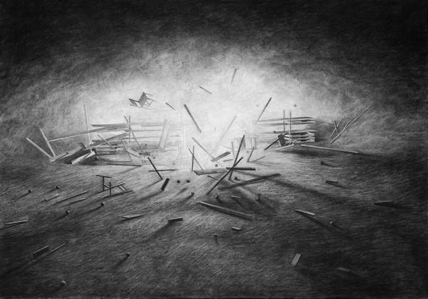 Levi Van Veluw, Expanding, 2014, charcoal on paper. Courtesy de La Galerie Particulière