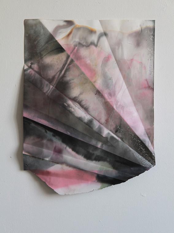 Myriam Holme, Macrotig zwei, 2015. Lacquer, Stain on paper. Courtesy Bernhard Knaus Fine Art
