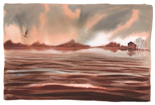 """Illustrazione da """"Fiume lento. Un viaggio lungo il Po"""", Alessandro sanna, 2013, ed. Rizzoli"""