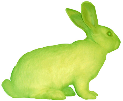 """GFP Bunny"" , Alba, coniglio fluorescente, 2000. Photo: Chrystelle Fontaine"