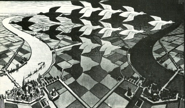 Maurits Cornelis Escher, Day and Night, woodcut in black and gray, printed from two blocks, 1938.